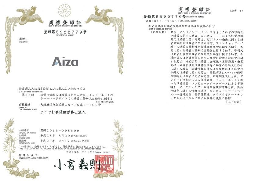 aiza商標登録証