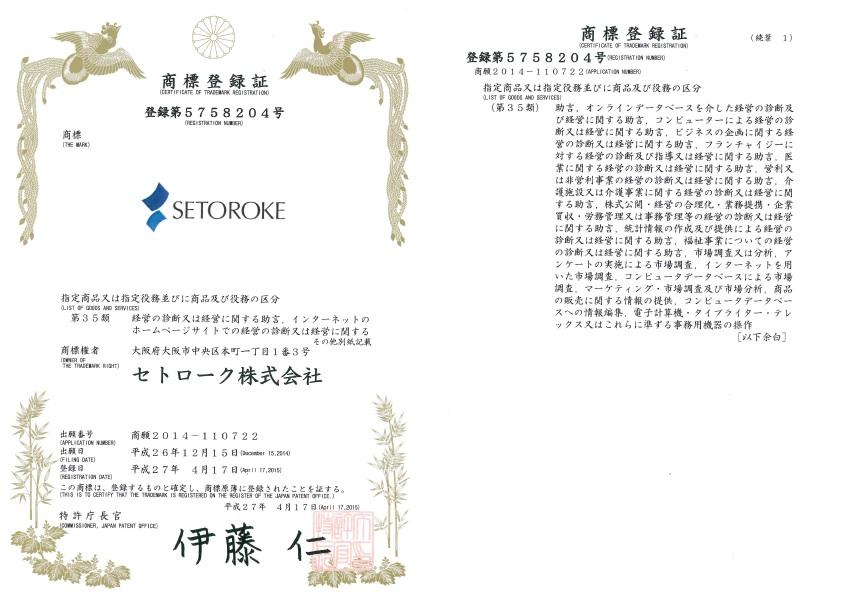setoroke商標登録証